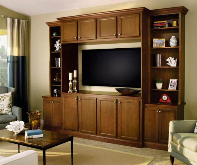 Peru Wooden Aristokraft Cabinets With Tv Stand And Open Book Shelves On Wheat Ceramics Floor Ideas