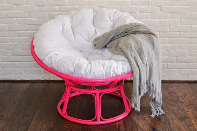 Pink Papasan Chair With White Cushion On Wooden Floor Ideas