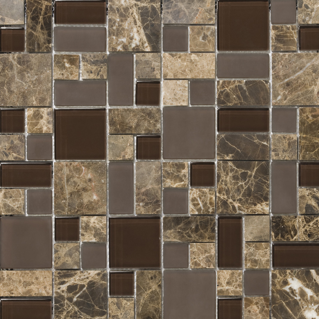 PORCELAIN POOL TILE FROM EMSER TILE lucente random sized stone and glass mosaic pattern blend in vetro
