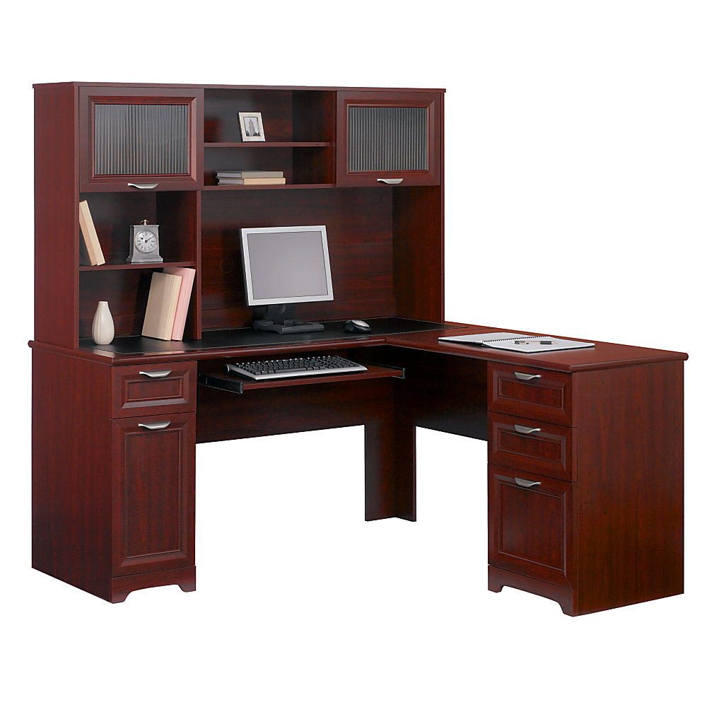 Realspace Magellan Collection L Shaped Desk with hutch in 30 H x 58 34 W x 18 34 plus computer set and drawers