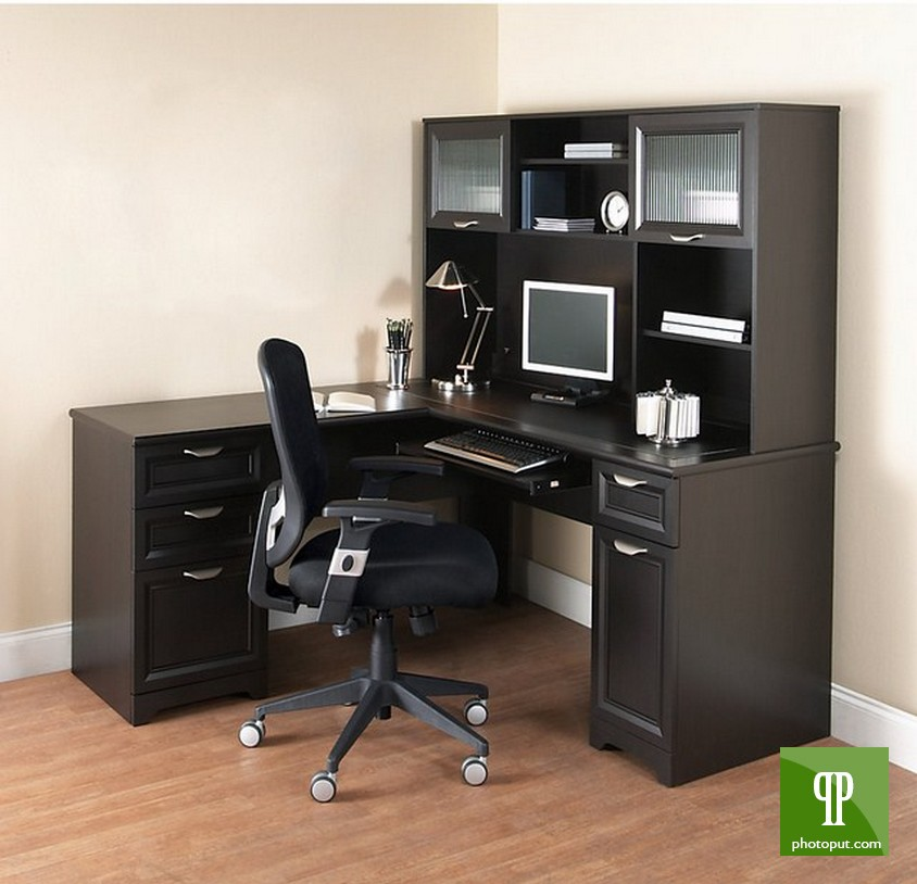 Realspace Magellan Collection L Shaped Desk with hutch in black with drawer and tv stand on wooden floor