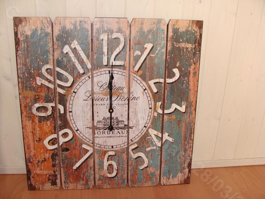 rectangle wooden oversized wall clock with black hand