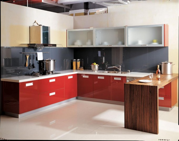 Red Kitchen Cabinet Refacing With White Handle Plus Sink And Oven With White Floor For Kitchen Ideas