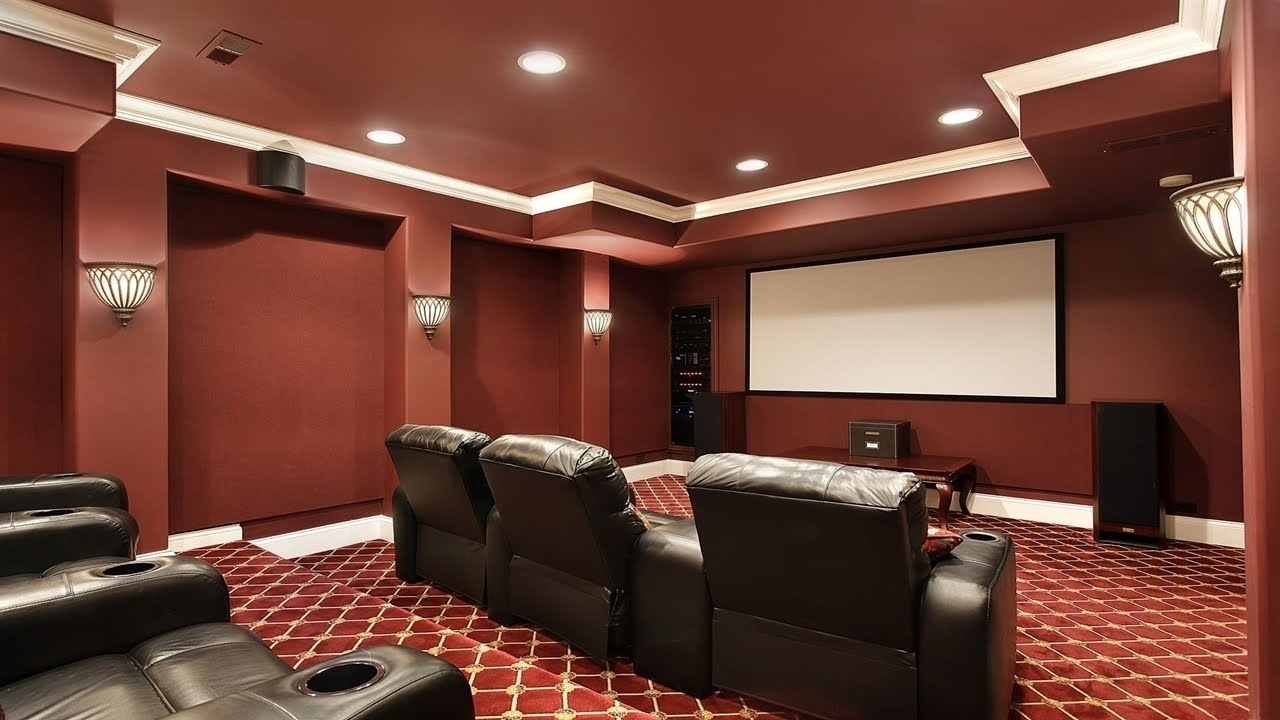 red masland carpet with red wall plus sofa for home cinema ideas