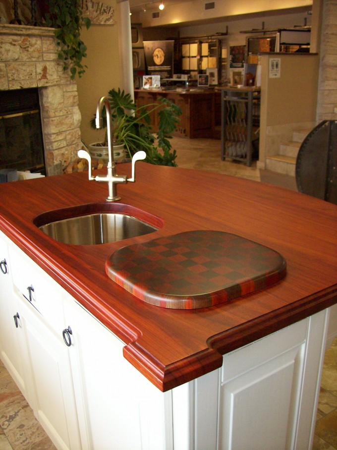 Red Oak Wooden Polish Butcher Block Countertops With Sink And Faucet Plus Cabinet For Kitchen Furniture Ideas