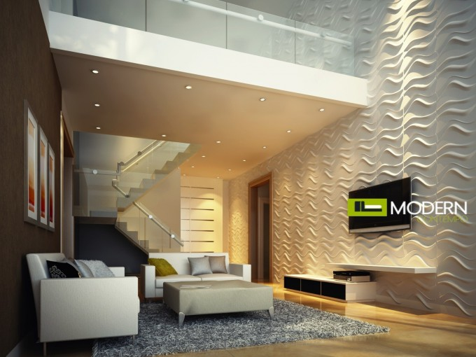 Room With Textured Wall Panels In White Ideas Plus White Sofa Sets And Grey Carpet And Tv