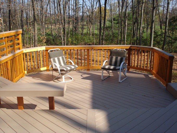 Rosybrown Azek Decking And Goldenrod Railing Plus Sofa For Deck Ideas