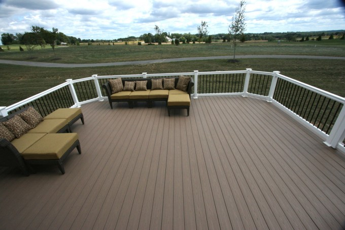 Rosybrown Azek Decking And White Handle Of Railing Plus Sofa Set With Cushions For Deck Ideas