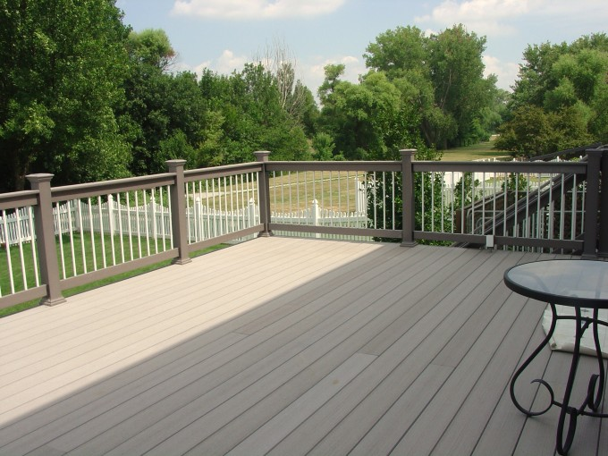 Rosybrown Azek Decking Plus Tan Railing For Deck Ideas