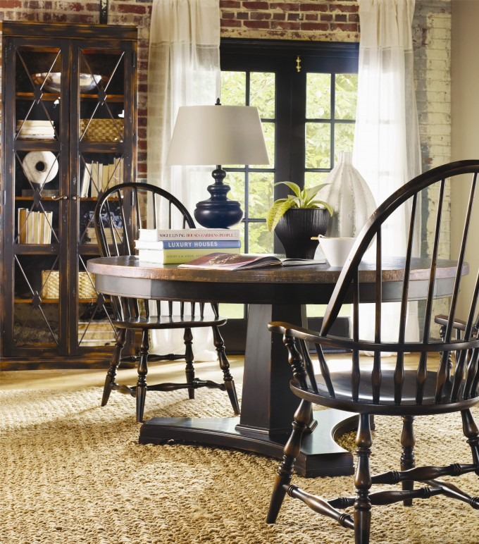Round Wooden Table Plus Wooden Chairs By Sprintz Furniture On Cream Carpet Decoration Ideas