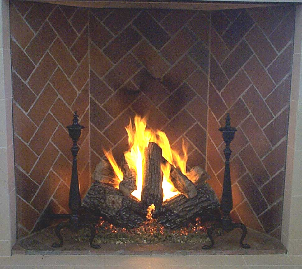 Rumford Fireplace Gas Log Sets with brown back splash ideas