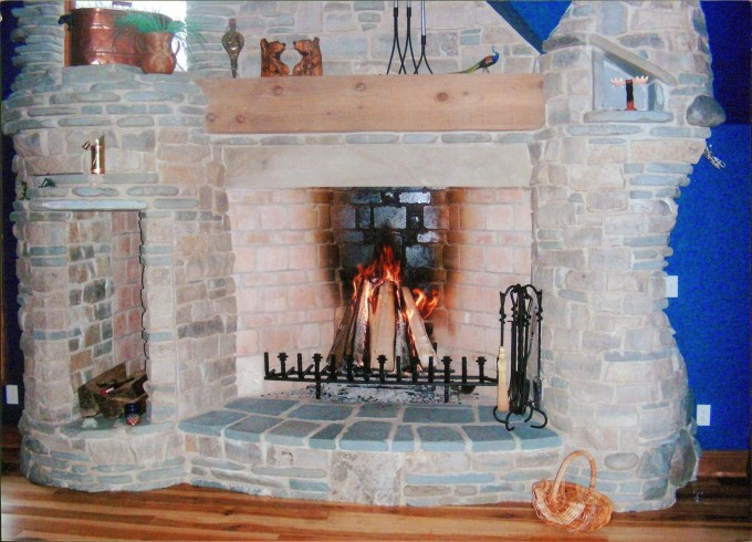 Rumford Fireplace Natural Stone With Chimney Matched With Wooden Floor Ideas