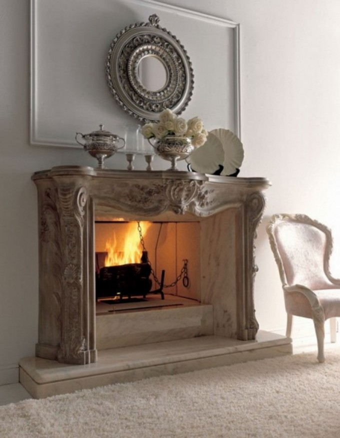 Rumford Fireplace Wit Charming Mantel Kite Matched With White Wall And White Carpet Plus Chair For Heat Warming Ideas