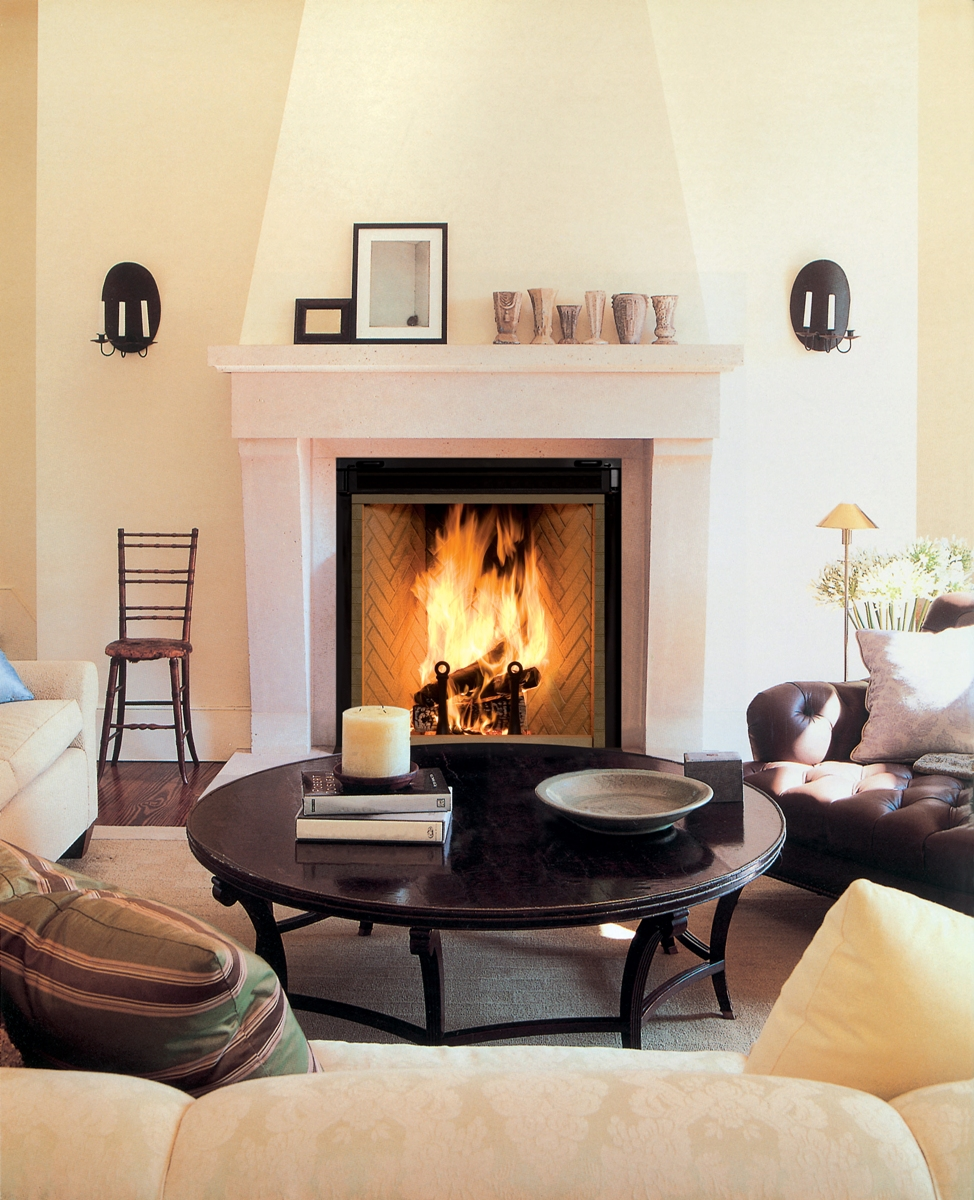 Rumford Fireplace with black frame and white mantel kit matched with white wall and wooden plus sofa set and carpet for family room ideas