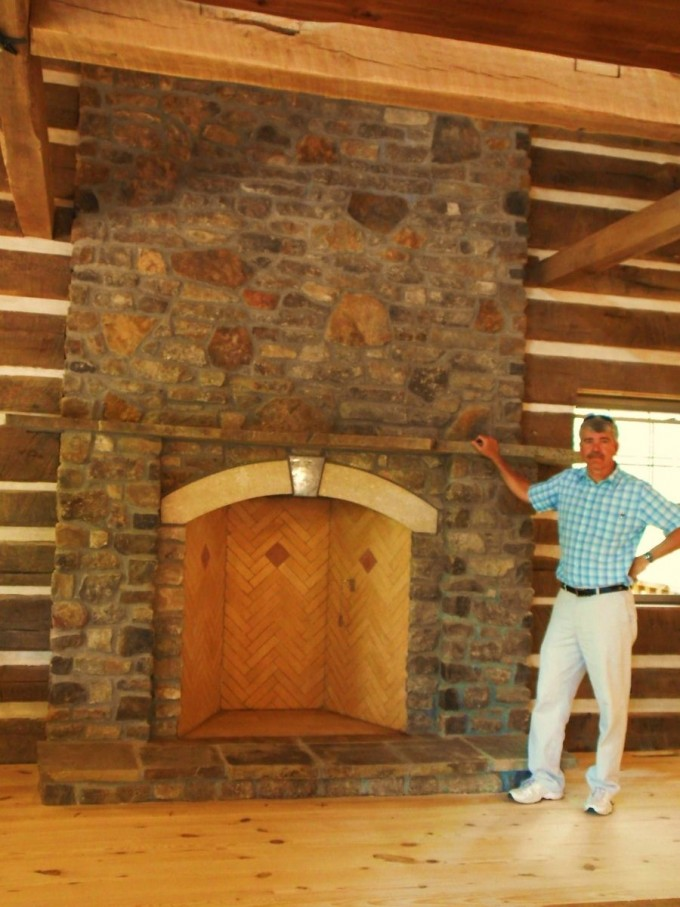 Rumford Fireplace With Natural Stone Mantel Kit Matched With Wooden Floor Ideas