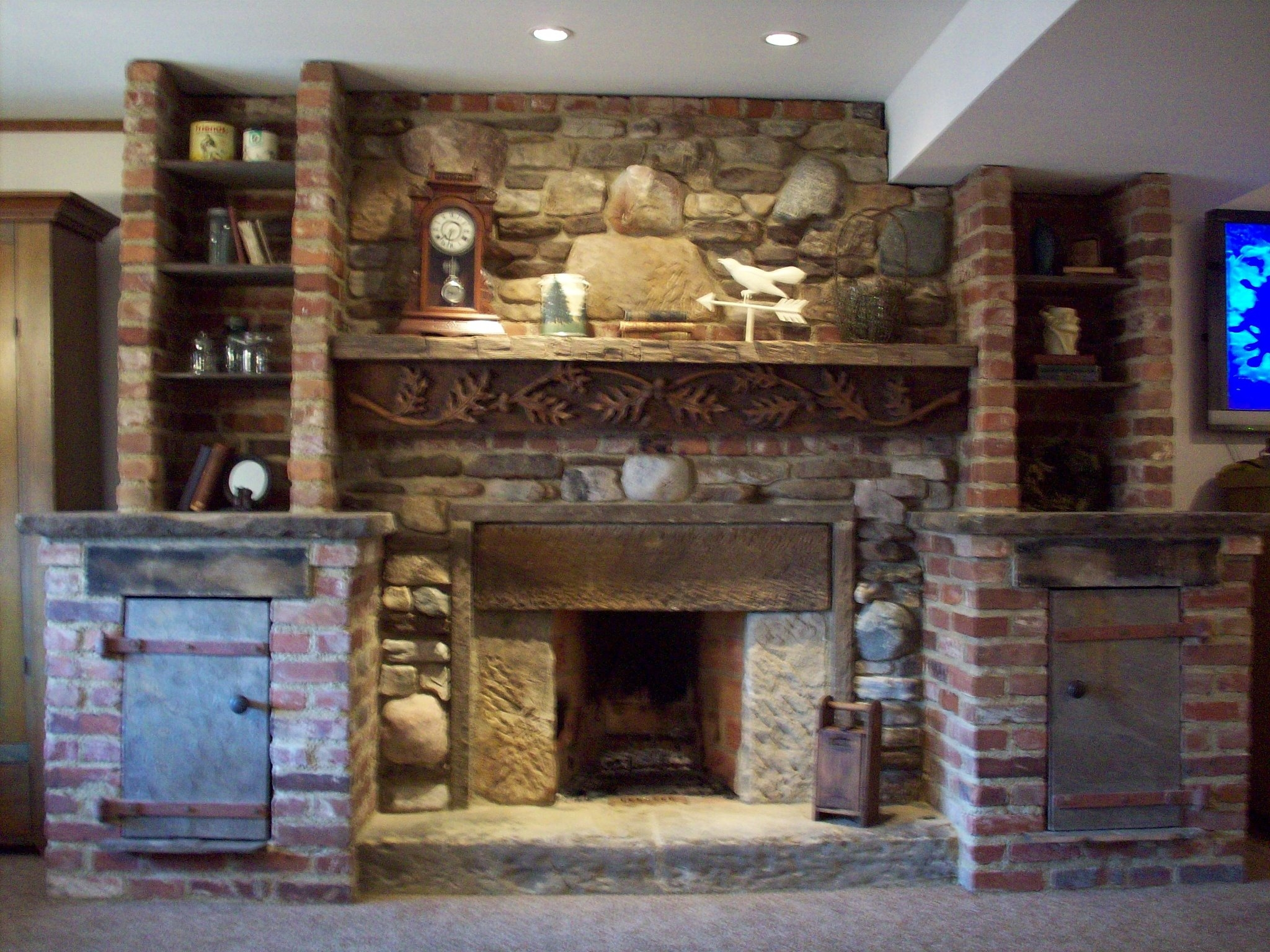 Rumford fireplace with natural stone mantel kit plus book shelve ideas