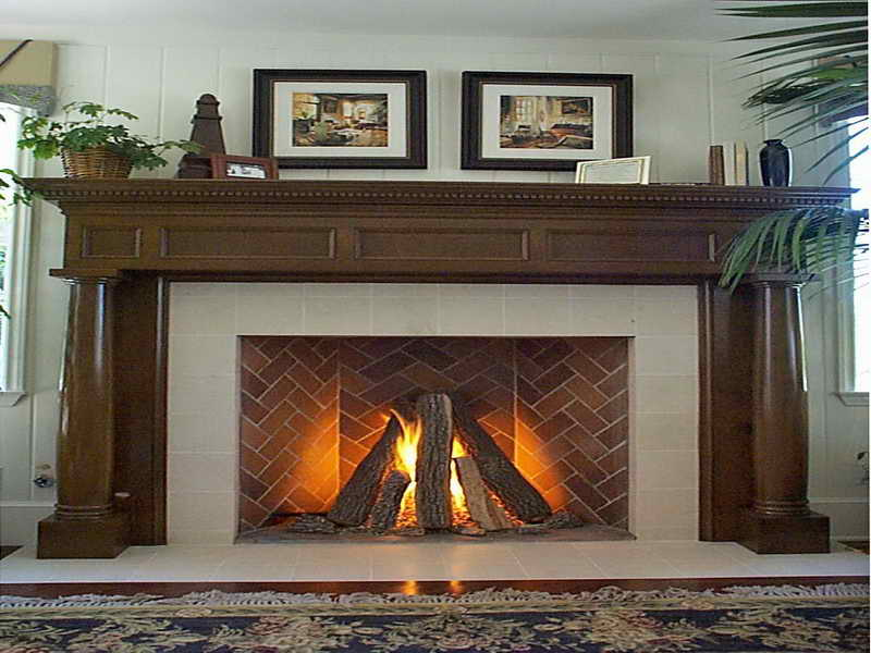 Rumford Fireplace with peru framed matched with white wall ideas