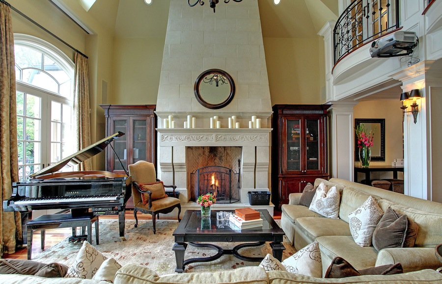 Rumford Fireplace with white mantel kit and sofa set and grand piano plus carpet for heat warming room ideas