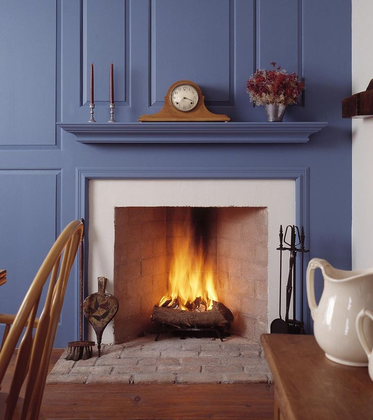 Rumford Fireplaces with blue wainscoting matched with wooden floor ideas