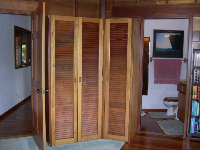 Rustic Natural Teak Wood Folding Closet Doors For Small Bathroom Ideas With Wooden Floor
