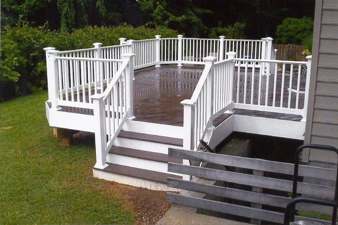 Saddlebrown Azek Decking And White Railing Plus Stairs For Deck Ideas