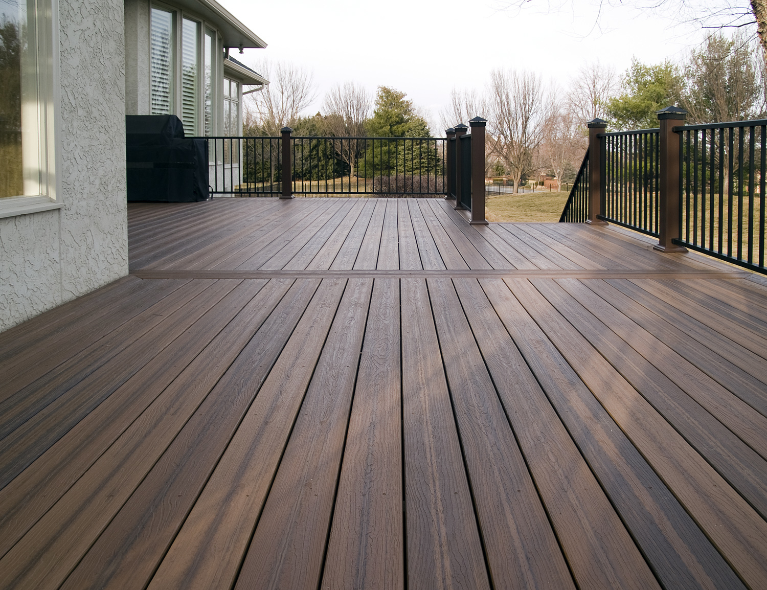 Saddlebrown Azek Decking Plus Black Railing For Deck Ideas