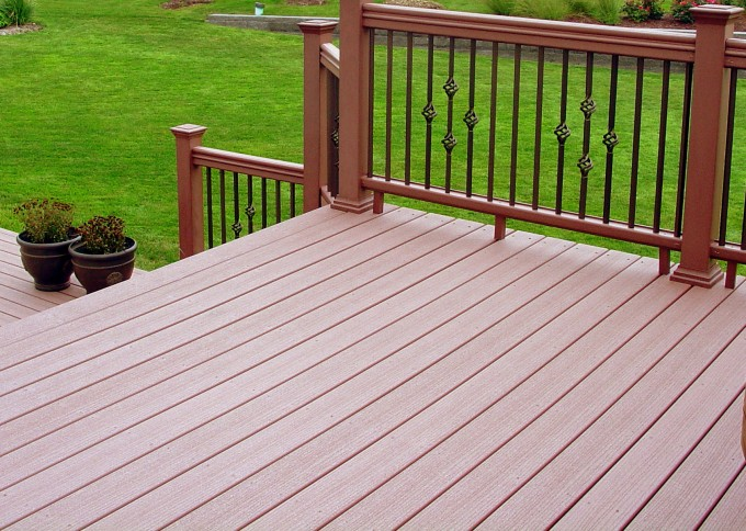 Sandybrown Azek Decking And Peru Railing For Deck Ideas