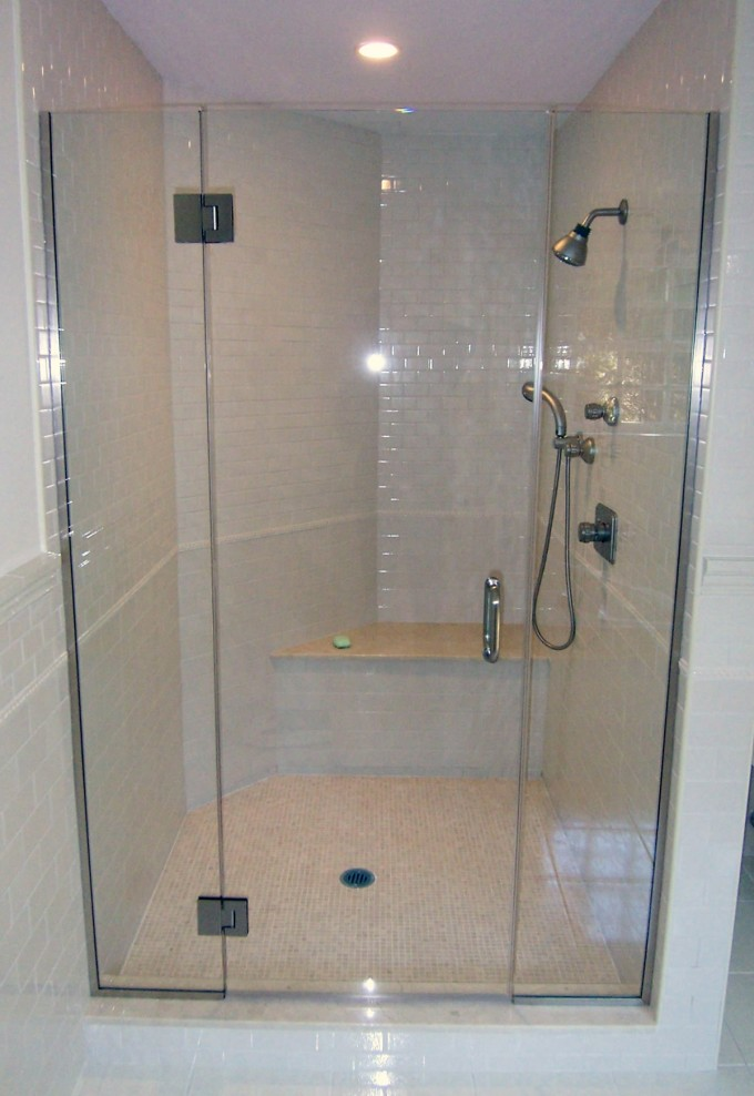 Semi Frameless Shower Doors With Black Handle Matched With White Ceramics Wall Plus Showers Faucet For Bathroom Ideas