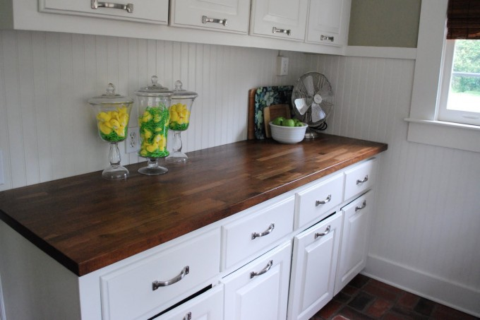 Sienna Butcher Block Countertops With White Cabinet On Ceramic Floor For Kitchen Decor Ideas