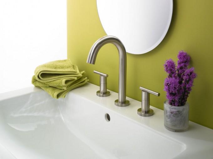 Silver Faucet Direct With Double Handle Matched With White Sink Plus Green Wall Plus Round Mirror For Bathroom Decor Ideas