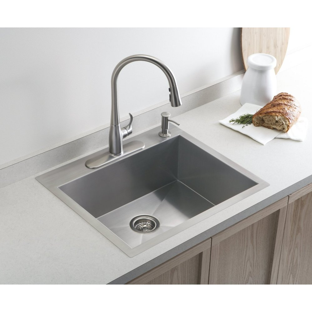 silver kitchen kohler sinks plus silver kitchen faucet on a kitchen cabinet with silver countertop ideas