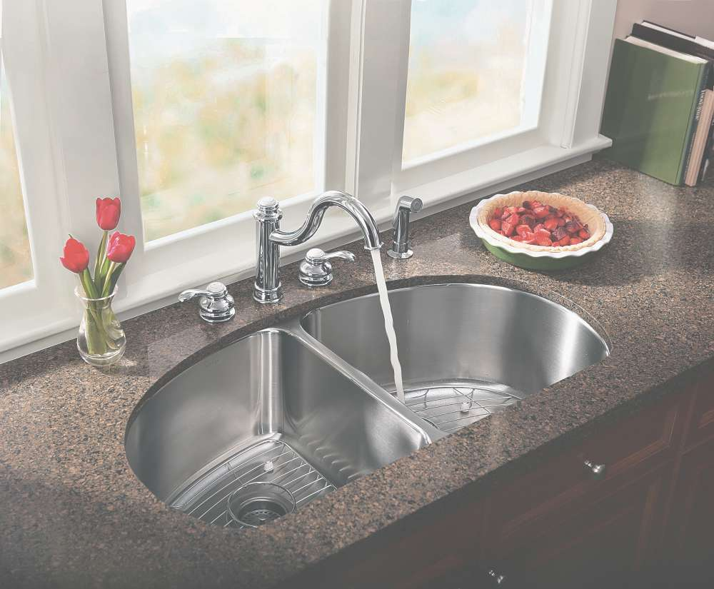 silver kohler sinks and silver faucet with curved neck on brown countertop before the white window ideas