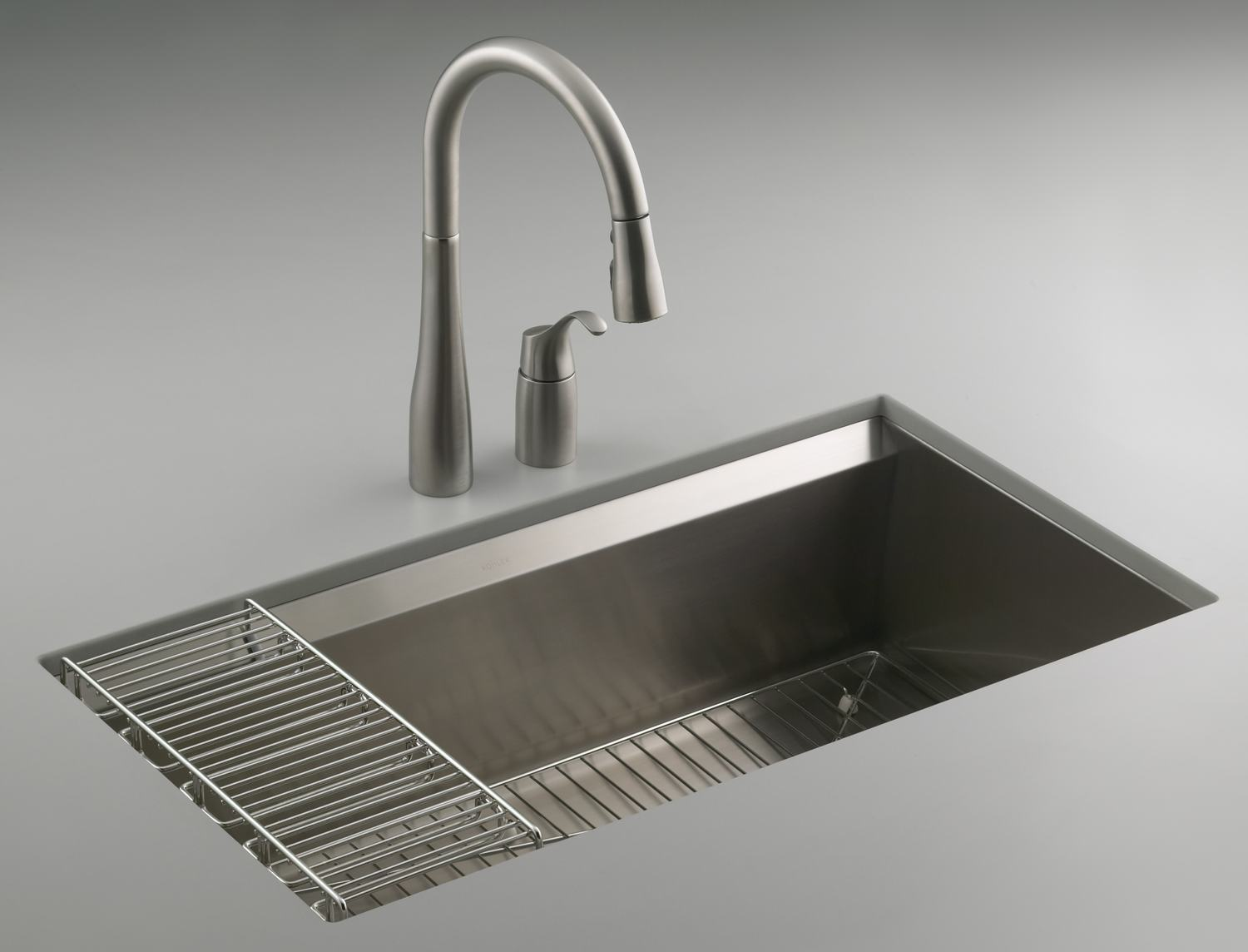 silver kohler sinks with filtration and silver faucet ideas