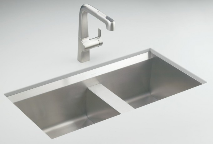Silver Kohler Sinks With Silver Faucet For Kitchen Furniture Ideas