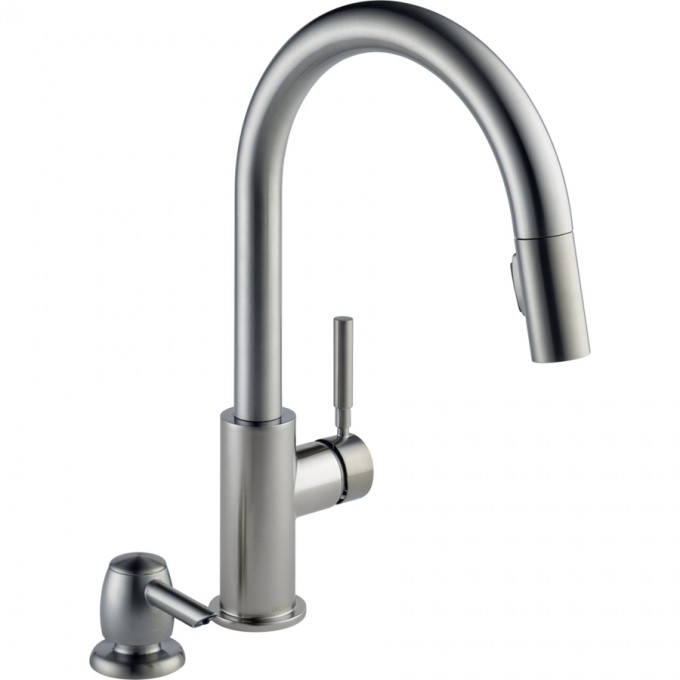 Silver Lowes Kitchen Faucets With Single Handle With Simple Design