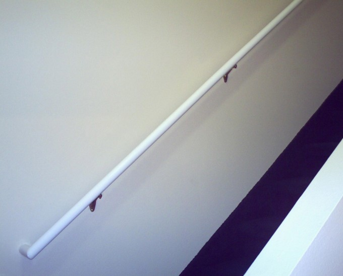 Simple White Handrails For Stairs Ideas With White Wall