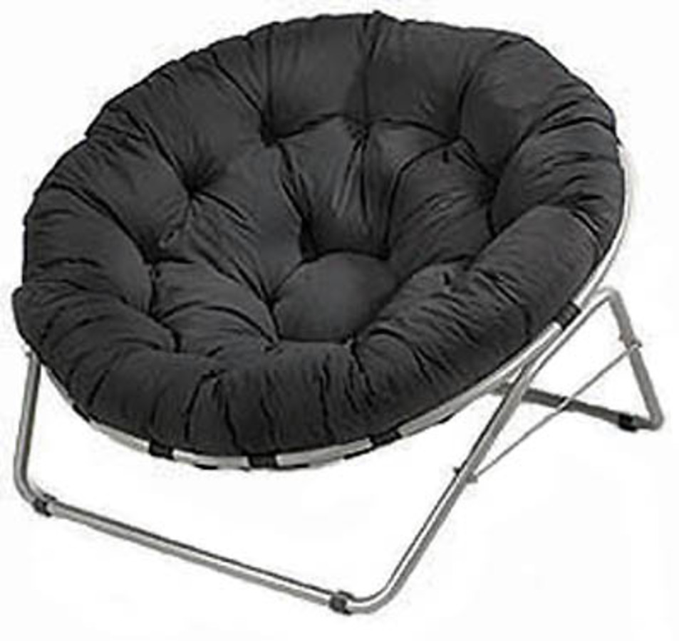 Single Papasan Chair With Black Solid Fabric Cushion