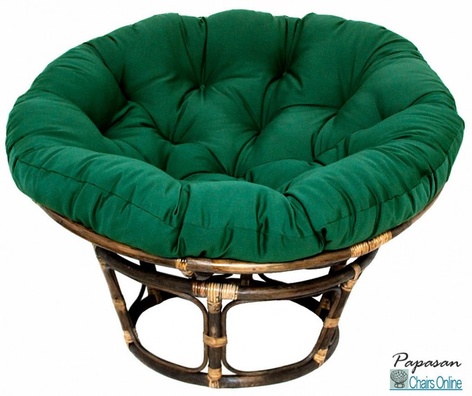 Single Papasan Chair With Green Solid Fabric Cushion