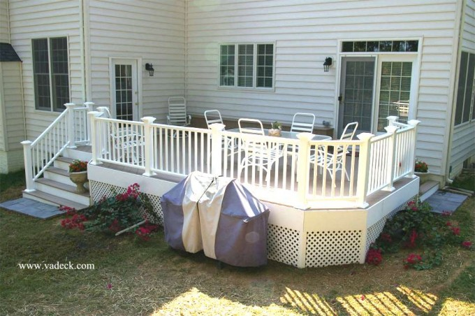 Slategray Azek Decking And White Railing Plus White Chairs For Deck Ideas