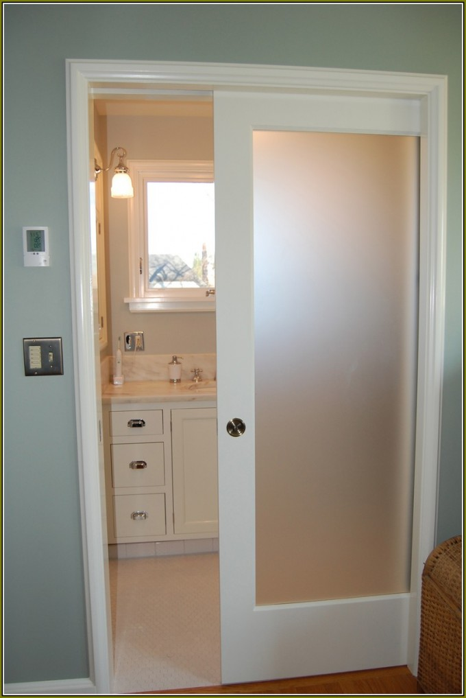 Smart Folding Closet Doors Idea For Bathroom With Blue Wall Plus Mirror And Wastafel Plus Lamp On Wall