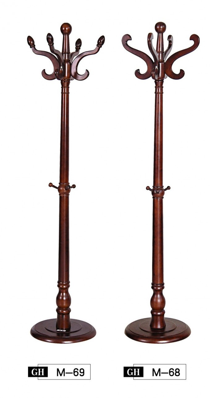 Solid Wood Standing Coat Rack With Nice Curved Hooks
