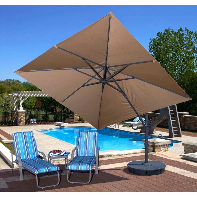 Square Cantilever Umbrella In Brown With Sofa Sets Near The Swimming Pool For Patio Decor Inspiration