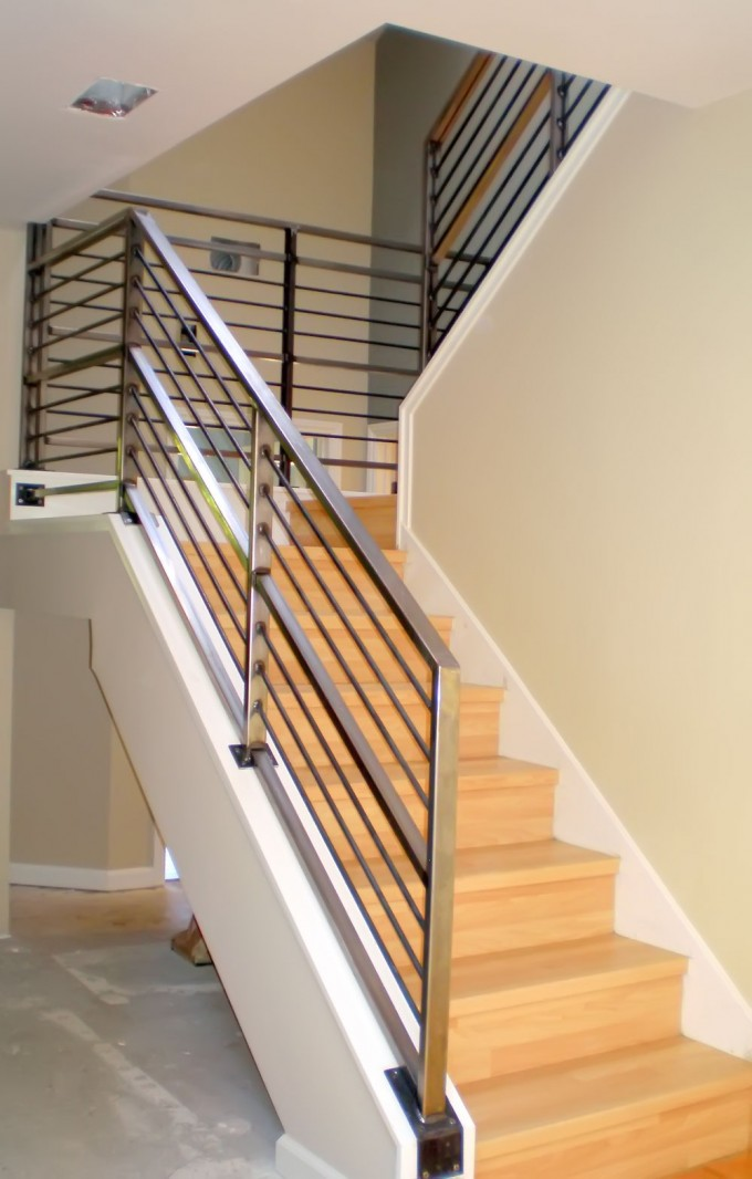 Stainless Steel Handrails For Stairs Ideas With Wheat Wall