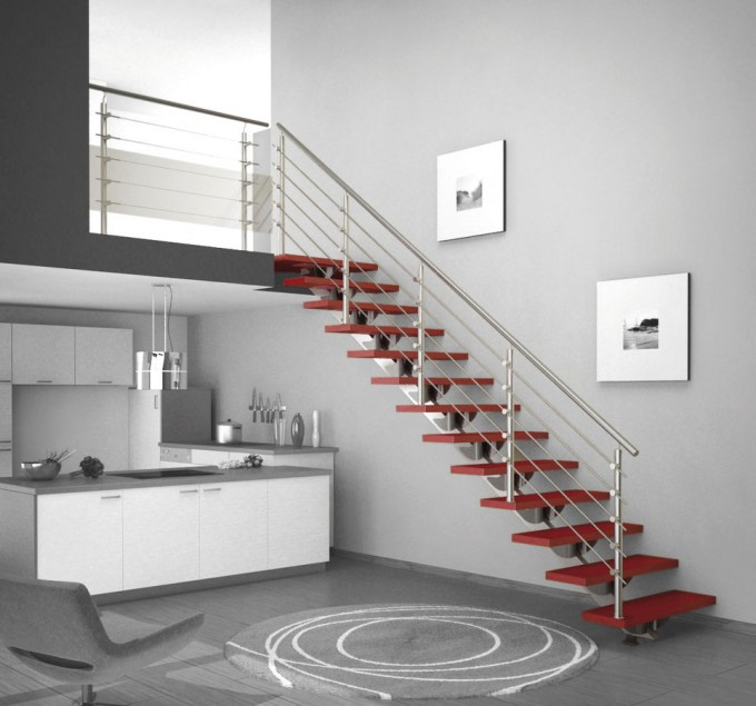 Stainless Steel Handrails For Stairs With Red Treads Ideas With Grey Wall And Picture On Wall