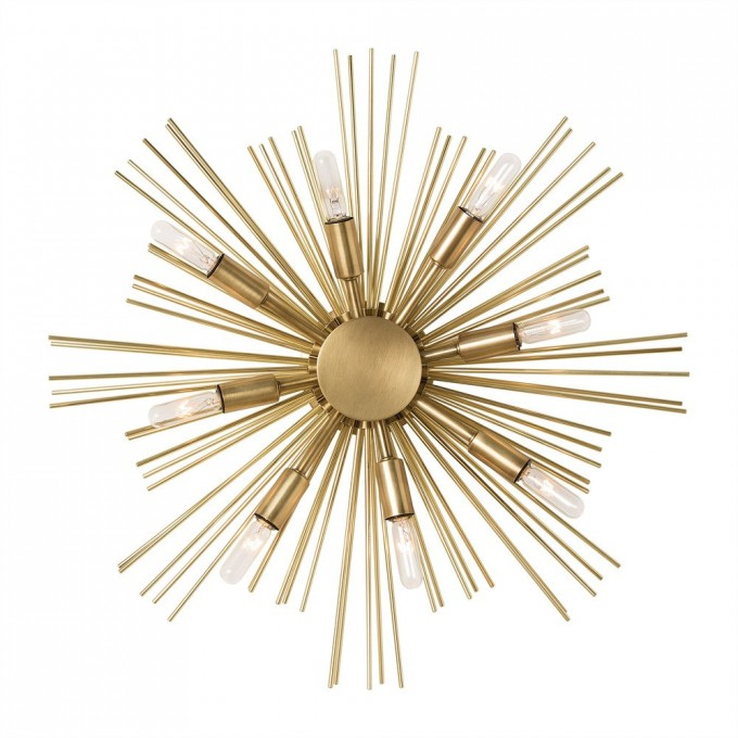 Starburst Wall Decor In Gold Theme Plus Lights For Wall Ideas