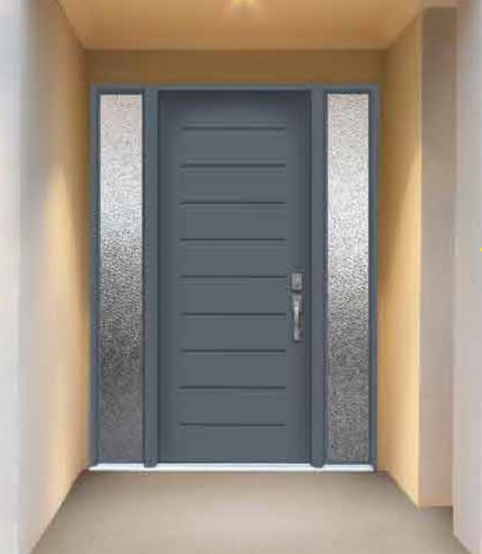 Steelblue Truetile Doors With Silver Handle Matched With Cream Wall Ideas