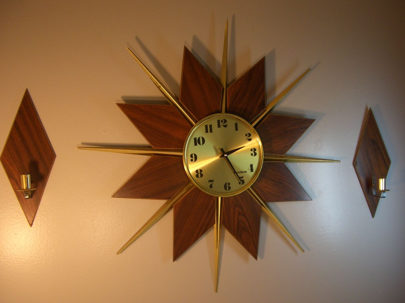 Stunning Starburst Wall Decor With Clock for vintage wall accessories ideas