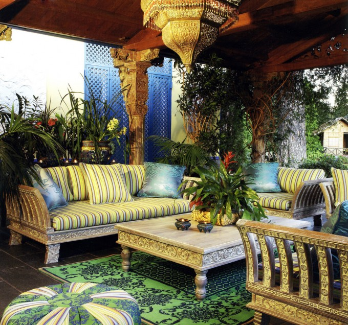Stupefying Sprintz Furniture Decorating Ideas For Patio With Stripped Sofa And Cushions Plus Floral Carpet Ideas