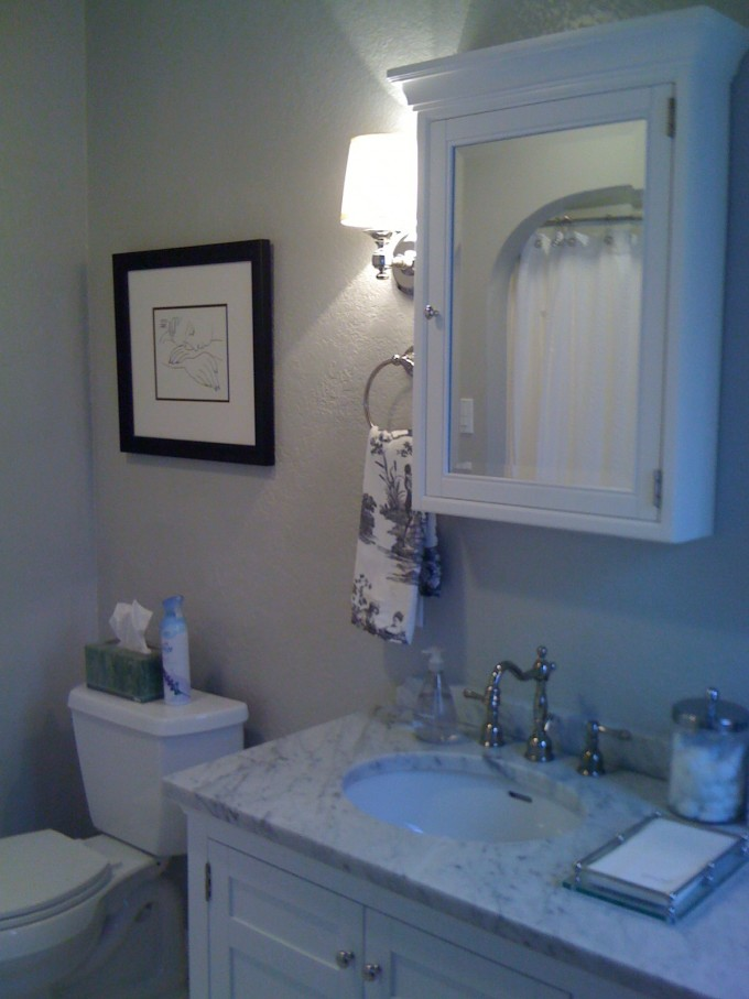 Stylish White Lowes Medicine Cabinets On White Wall Plus Sink And Silver Faucet Plus Light On Wall Plus Floral Towel
