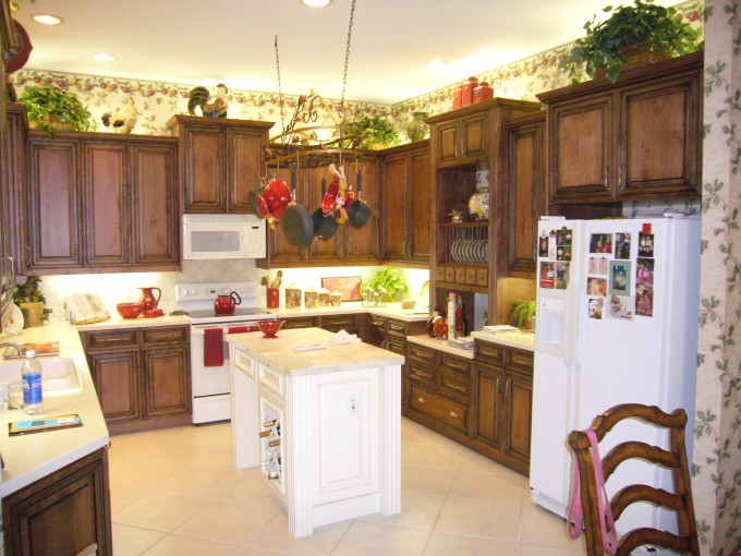 Sweet Kitchen Cabinet Refacing With Oven And Frige Plus Chandelier For Kitchen Design Ideas